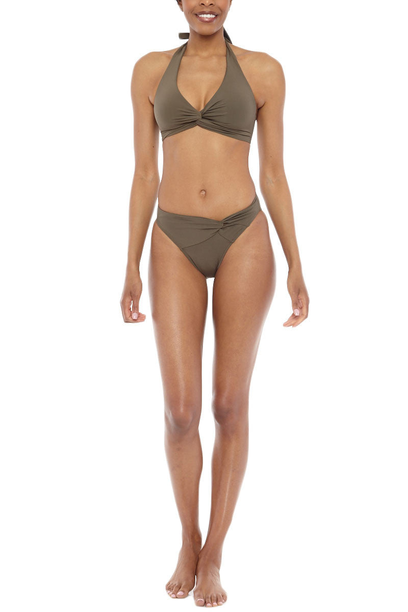 JETS D/DD Twist Halter Bikini Top - Moss Green Bikini Top | Moss Green| JETS D/DD Twist Halter Bikini Top - Moss Green Supportive twist front seamless halter style bikini top in stone green-gray. Twisted front detail gives you a unique look and shapes and smoothes your bust. Adjustable halter straps offer  Front View