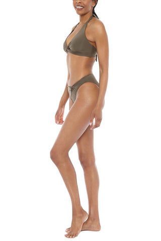 JETS Twist Front Bikini Bottom - Moss Green Bikini Bottom | Moss Green| Jets Twist Front Bikini Bottom - Moss Green Mid-rise twist front moderate bikini bottom in stone green-gray. Asymmetrical twisted front detail  Side View