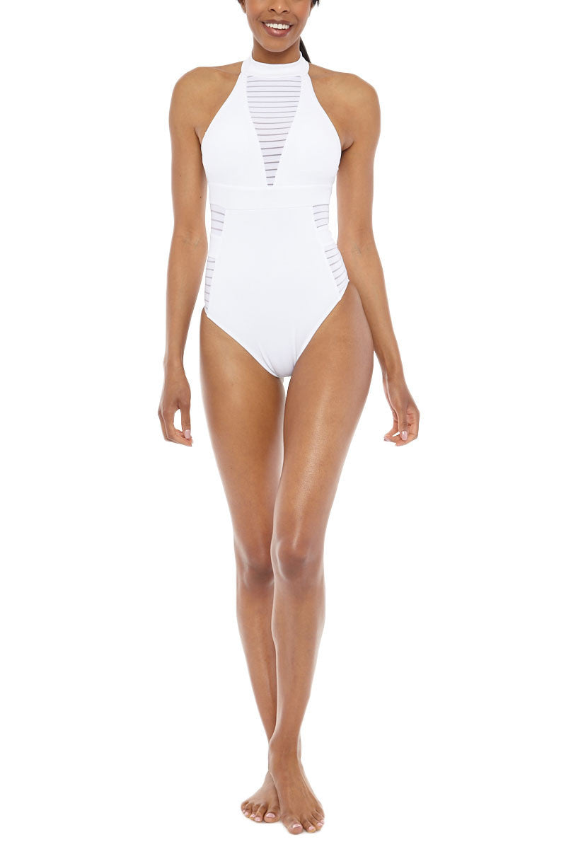 JETS High Neck One Piece Swimsuit - White One Piece   White  Jets High Neck One Piece