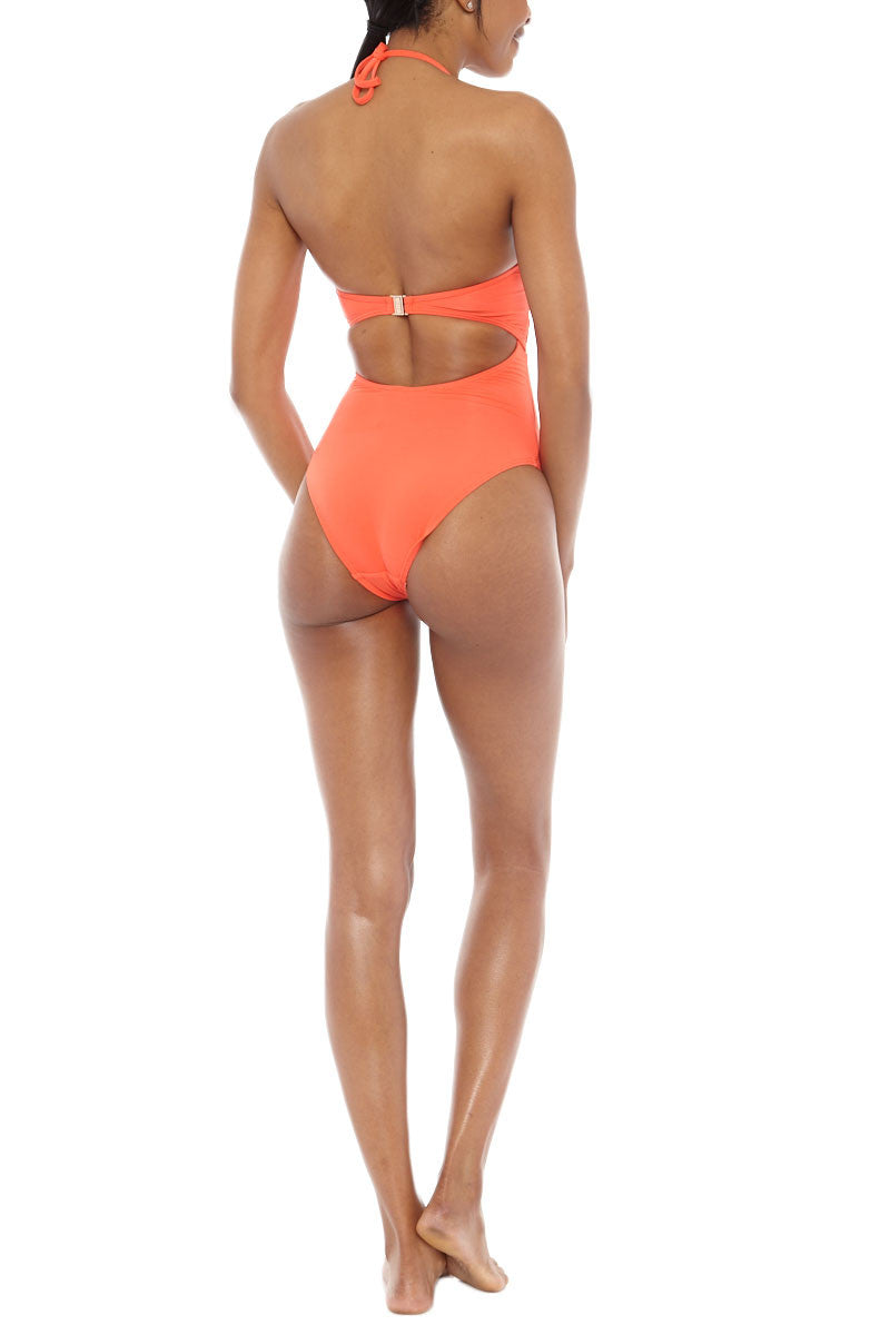 JETS Halter Lace Up One Piece Swimsuit - Valencia Orange One Piece   Valencia Orange  JETS Halter Lace Up One Piece Swimsuit - Valencia Orange Deep-V lace up halter cut out one piece swimsuit in vibrant orange. The deep plunging neckline features adjustable lace-up ties  Back View