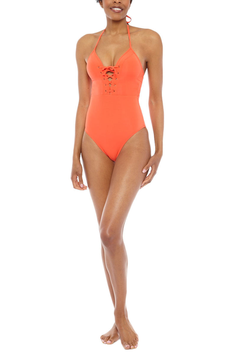 JETS Halter Lace Up One Piece Swimsuit - Valencia Orange One Piece   Valencia Orange  JETS Halter Lace Up One Piece Swimsuit - Valencia Orange Deep-V lace up halter cut out one piece swimsuit in vibrant orange. The deep plunging neckline features adjustable lace-up ties  Front View