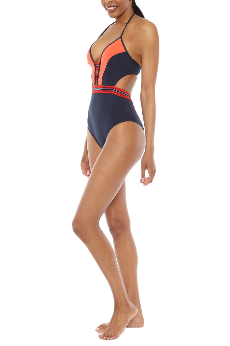 JETS Plunge One Piece Swimsuit - Ink/Valencia One Piece | Ink/Valencia| Jets Plunge One Piece
