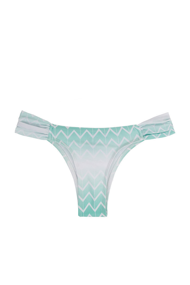 KOVEY Jetty Ruched Sides Bikini Bottom - Currents Blue Zig Zag Print Bikini Bottom | Currents Blue Zig Zag Print| Kovey Jetty Ruched Sides Bikini Bottom - Currents Blue Zig Zag Print Low-rise ruched sides hipster style cheeky bikini bottom in turquoise blue. Edgy chevron print in aqua blue Front View