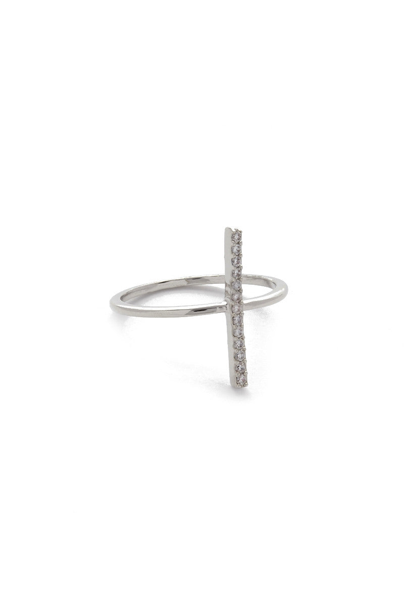JEWEL CULT Pave Crystal Bar Ring Jewelry | Silver| Jewel Cult Pave Crystal Bar Ring