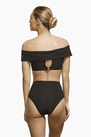 AMAIO SWIM Jolie Off The Shoulder Bikini Top - Black Bikini Top | Black| Amaio Swim Jolie Off The Shoulder Bikini Top - Black.  Features:  Luxe Jacquard fabric Unique fabric and fit Metal clasp at back Perfectly drapes to the female form Imported from France. View: Back view, on model.