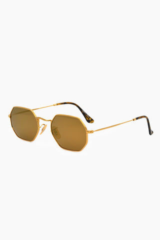 I-SEA Jones Polarized Sunglasses - Gold Sunglasses | Gold| I-Sea Jones Polarized Sunglasses - Gold Hexagonal Silhouette Sunglasses Frame Color: Gold Lens Color: Gold Polarized Fitted With Adjustable Nose Pads 100% UV / UVB Protection Side View