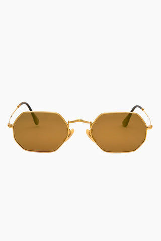 I-SEA Jones Polarized Sunglasses - Gold Sunglasses | Gold| I-Sea Jones Polarized Sunglasses - Gold Hexagonal Silhouette Sunglasses Frame Color: Gold Lens Color: Gold Polarized Fitted With Adjustable Nose Pads 100% UV / UVB Protection Front View