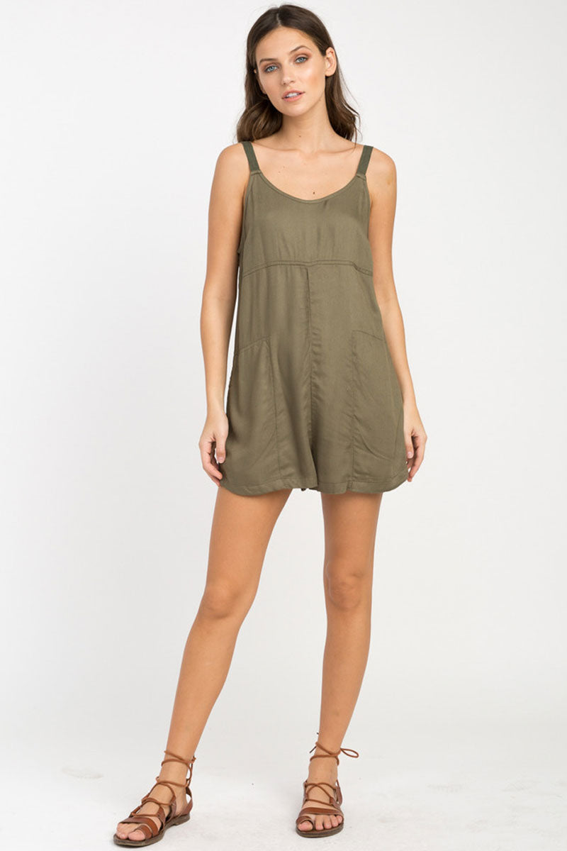 RVCA Jurys Out Romper - Burnt Olive Romper | Burnt Olive| RVCA Jurys Out Romper - Burnt Olive Short romper with on seam pockets Low scoop back Adjustable twill shoulder straps with metal strap adjusters 100% rayon Front View
