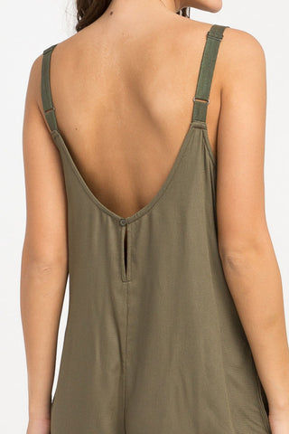 RVCA Jurys Out Romper - Burnt Olive Romper | Burnt Olive| RVCA Jurys Out Romper - Burnt Olive Short romper with on seam pockets Low scoop back Adjustable twill shoulder straps with metal strap adjusters 100% rayon Back View