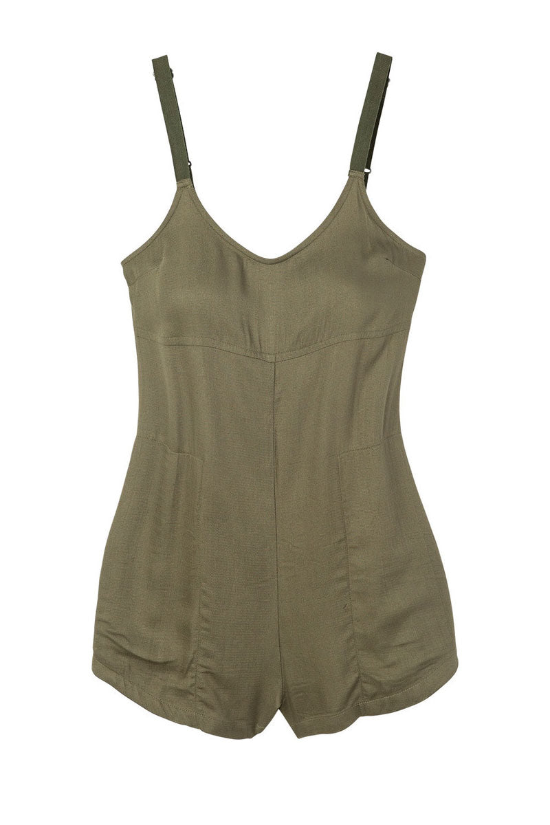 RVCA Jurys Out Romper - Burnt Olive Romper | Burnt Olive| RVCA Jurys Out Romper - Burnt Olive Short romper with on seam pockets Low scoop back Adjustable twill shoulder straps with metal strap adjusters 100% rayon Flatlay View