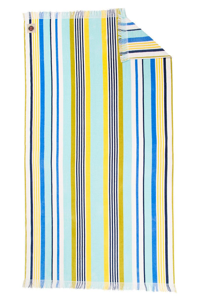 RUBY MINT Kensington Towel Towel | Blue/Yellow Stripe