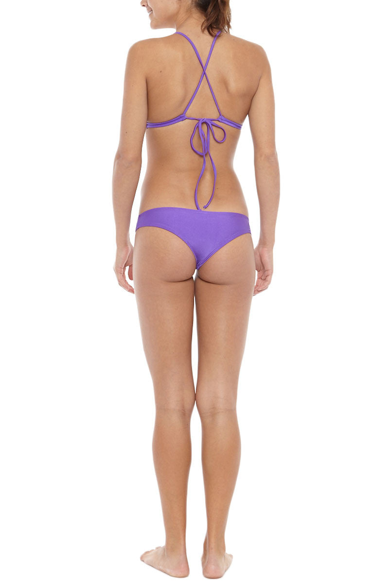KOVEY Coast Criss Cross Back Triangle Bikini Top - Electric Purple Bikini Top | Electric Purple| Kovey Coast Criss Cross Back Triangle Bikini Top - Electric Purple Classic fixed triangle strappy back bikini top in electric purple. Stretch-fit fabric features a hint of sheen for a brilliant glow in the sunshine. The super sporty V-neckline sculpts your bust while exposing your décolletage. Thin criss-cross shoulder straps Back View