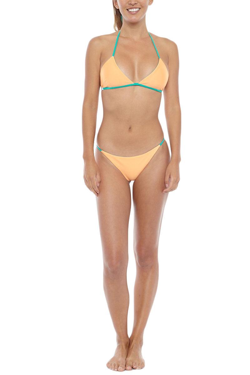 KOVEY Reversible Peaks Triangle Bikini Top - Sea Green/Tang Bikini Top | Sea Green/ Tang| KOVEY Reversible Peaks Bikini Top