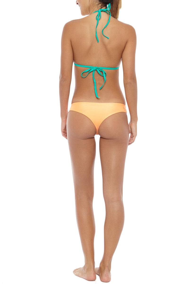 KOVEY Offshore Hipster Cheeky Bikini Bottom - Tang Orange Bikini Bottom   Tang Orange   Kovey Offshore Hipster Cheeky Bikini Bottom - Tang Orange Low-rise hipster style Brazilian bikini bottom in tangerine orange. Stretch-fit fabric features a hint of sheen for a brilliant glow in the sunshine. Wide, fixed side straps are super smooth and stay secure while swimming and sunbathing. The low-rise cut and overall skimpy coverage Back View