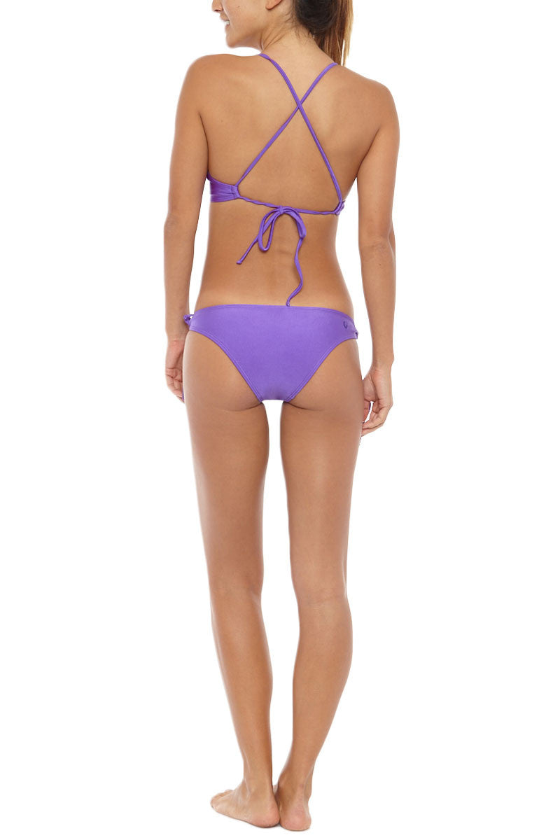 KOVEY Swell Criss Cross Back Bralette Bikini Top - Electric Purple Bikini Top | Electric Purple| Kovey Swell Criss Cross Back Bralette Bikini Top - Electric Purple porty scoop neck strappy back bikini top in electric purple. Stretch-fit fabric features a hint of sheen for a brilliant glow in the sunshine. Removable pads allow you to wear this bikini top as a bralette, or with extra padding for smoothing and shaping. The thin spaghetti straps  Back View