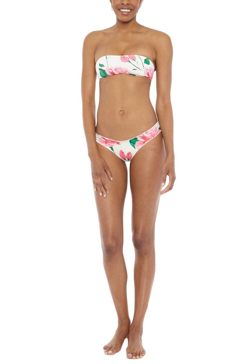 KAIMANA Roses String Bandeau Top Bikini Top | Cream Roses| Kaimana Roses String Bandeau Bikini Top