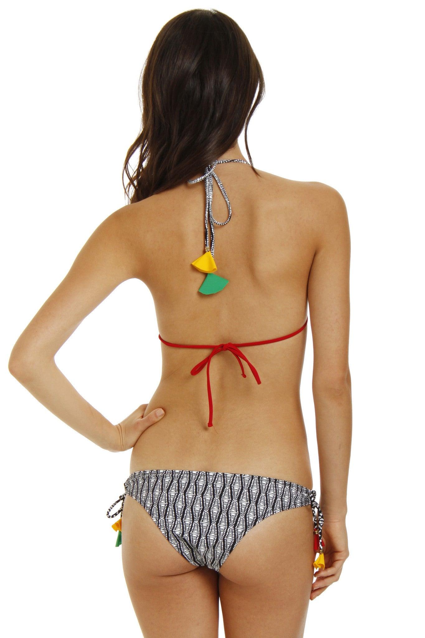RAISINS Kauai Tassel Tie Side Bikini Bottom - Black & White Geometric Print Bikini Bottom | Black & White Geometric Print| Raisins Kauai Tassel Tie Side Bikini Bottom - Black & White Geometric Print Side Ties Adjustable Fit. Patterned Lining. Cheeky Rear Coverage. Back View