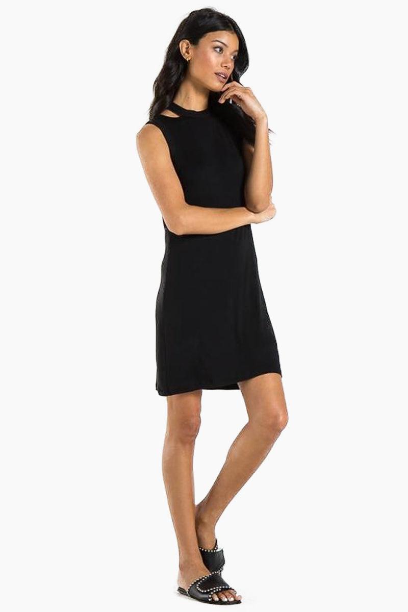 N:PHILANTHROPY Kennedy Dress - Black Cat Dress | Black Cat| n:Philanthropy Kennedy Dress - Black Cat Mini tank dress Cutout detail at neckline  Front View