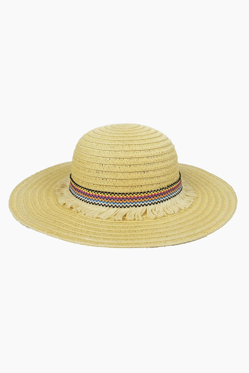 HAT ATTACK Fringe Raffia Braid Sun Hat (Kids) - Multi Hat | Multi | Hat Attack Fringe Trim Hat (Kids) - Multi Features:  Lightweight with fringed trim Raffia Spot clean Made in USA Front View