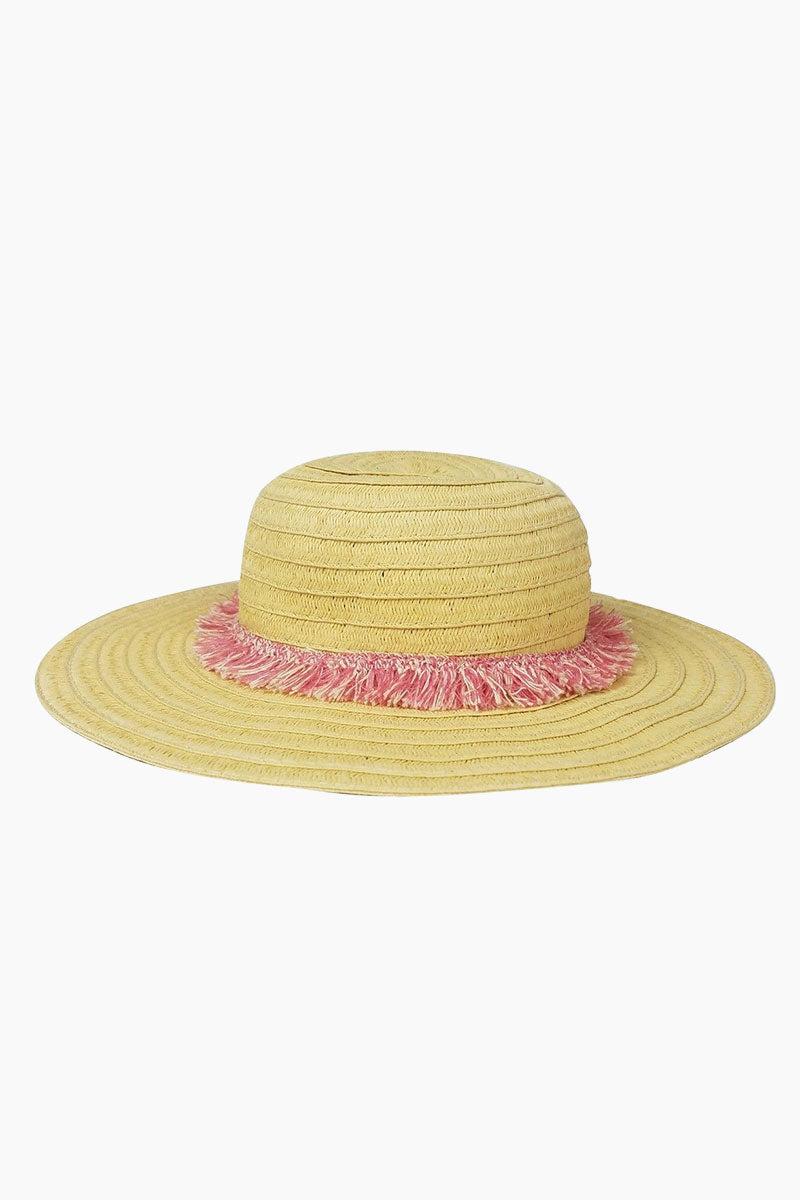 HAT ATTACK Fringe Raffia Braid Sun Hat (Kids) - Pink Hat | Pink| Hat Attack Fringe Trim Hat (Kids) - Pink Features:  Lightweight with fringed trim Raffia Spot clean Made in USA Front View