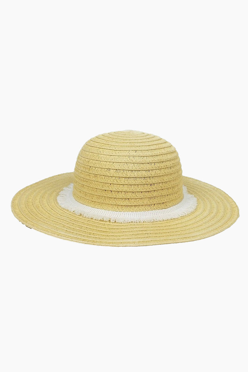 HAT ATTACK Fringe Raffia Braid Sun Hat (Kids) - White Hat | White| Hat Attack Fringe Trim Hat (Kids) - White Features:  Lightweight with fringed white trim Raffia Spot clean Made in USA Front View