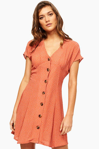 MINKPINK Kindred Button Front Dress - Red/White Polka Dots Dress | Red/White Polka Dots| Minkpink Kindred Button Front Dress - Red/White Polka Dots Short Sleeve Dress  V Neckline  Tortoise Shell Button Up Front Detail  Fitted Torso  Flare Skirt  Crepe-like material; Unlined, Semi-sheer Front View