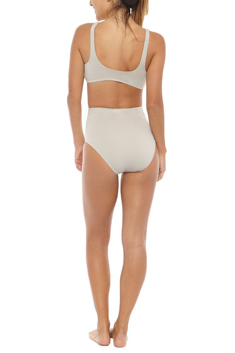 KORE Alexa Color Block High Waist Bikini Bottom - French Vanilla White/Latte Brown Bikini Bottom | French Vanilla White/Latte Brown| KORE Alexa Color Block High Waist Bikini Bottom - French Vanilla White/Latte Brown Back View