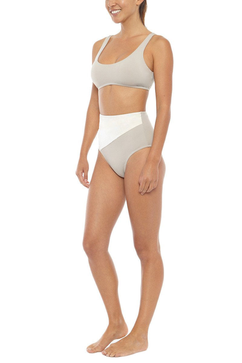 KORE Alexa Color Block High Waist Bikini Bottom - French Vanilla White/Latte Brown Bikini Bottom | French Vanilla White/Latte Brown| KORE Alexa Color Block High Waist Bikini Bottom - French Vanilla White/Latte Brown Front View