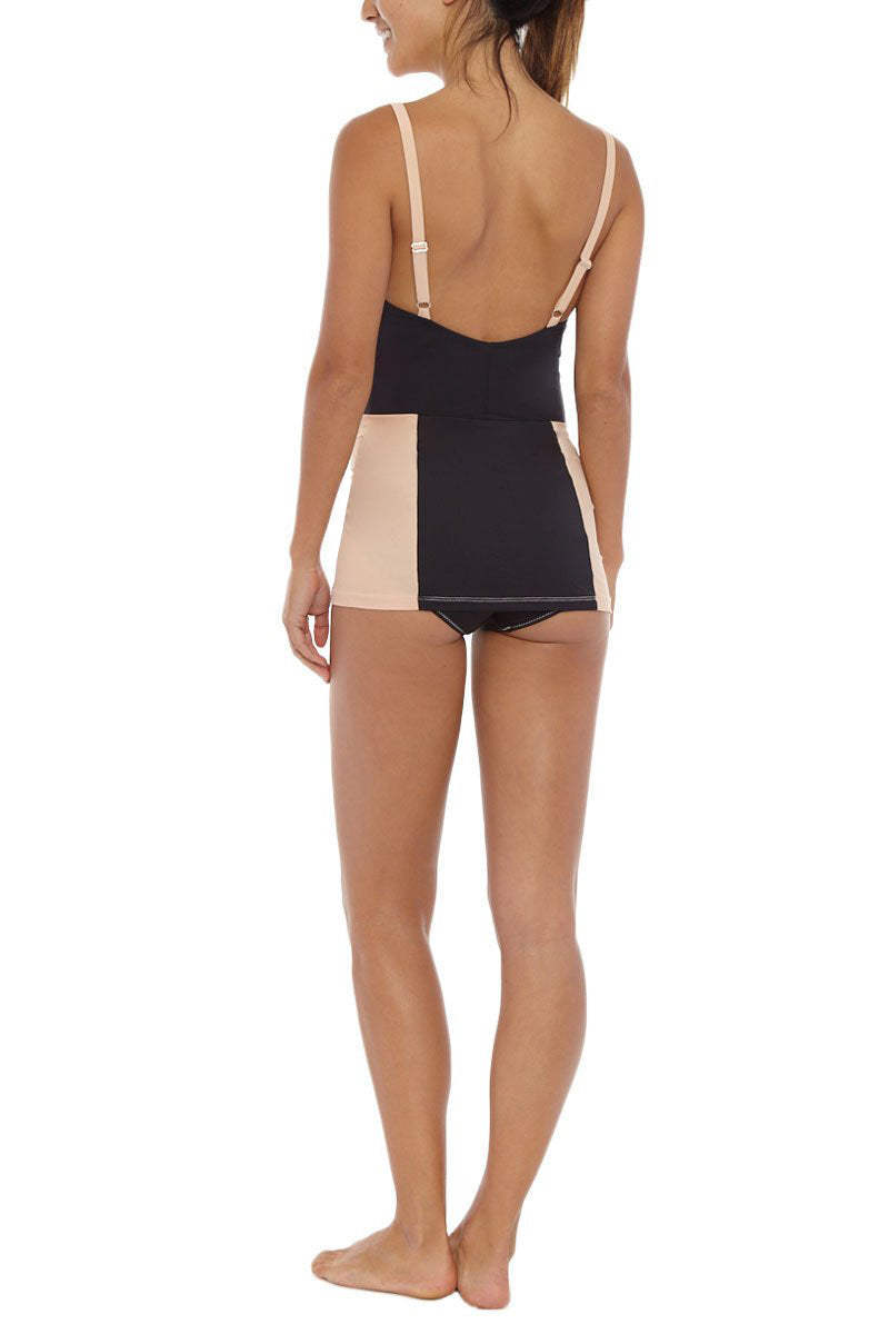 KORE Daphne Color Block Skirted One Piece Swimsuit - Black/Cookie Dough Brown One Piece | Chocolate Chip| Kore Daphne Maillot Skirted One Piece - Chocolate Chip Back Side View