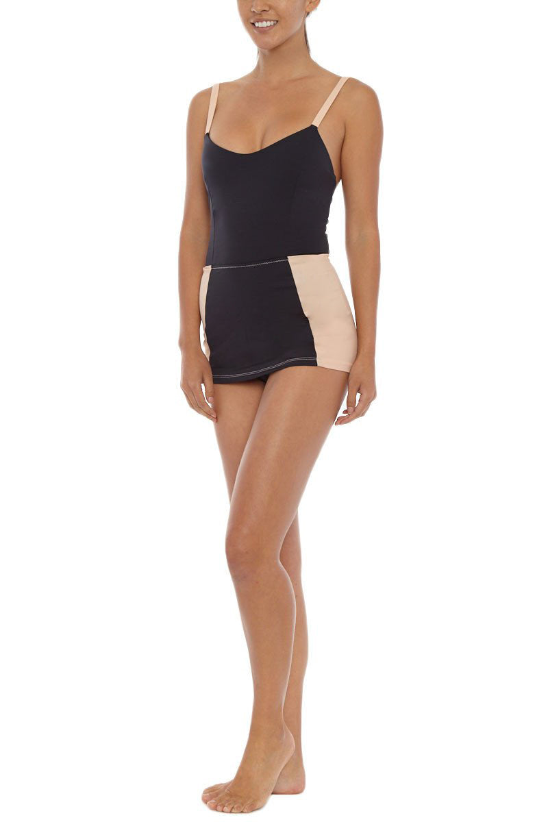 KORE Daphne Color Block Skirted One Piece Swimsuit - Black/Cookie Dough Brown One Piece | Chocolate Chip| Kore Daphne Maillot Skirted One Piece - Chocolate Chip Side View
