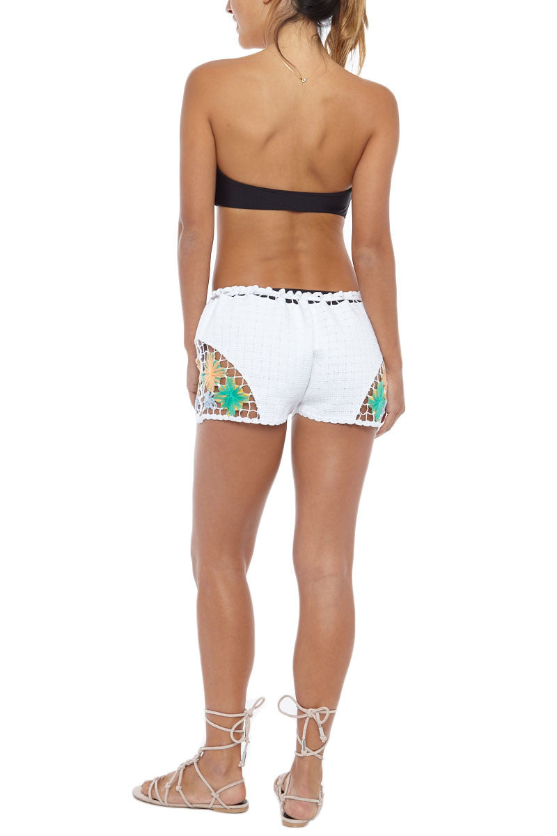 KOVEY High Tide Rainbow Crochet Shorts - White Shorts | White| Kovey High Tide Shorts