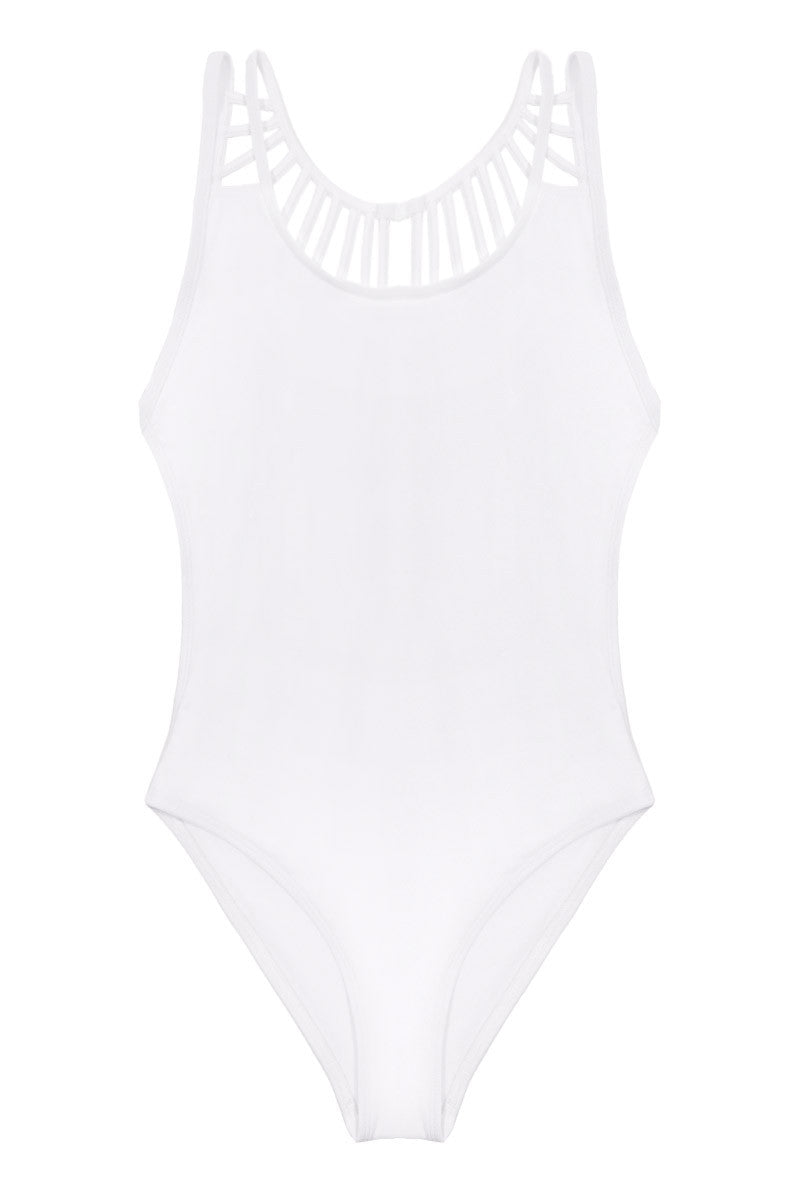 KOVEY The Solid Line Up Strappy Caged One Piece Swimsuit - White One Piece   White 