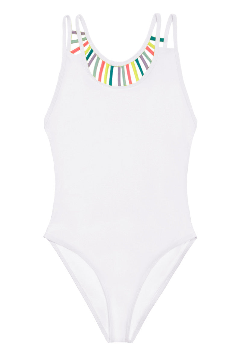 KOVEY The Rainbow Line Up Strappy Caged One Piece Swimsuit - White One Piece | White| The Rainbow Line Up Strappy Caged One Piece Swimsuit - White Scoop neck strappy back cheeky one piece swimsuit in bright white. The thin double shoulder straps and classic scoop neckline create a clean-cut, simple look at front. Head-turning open back accented with rainbow-colored thin straps lengthens your figure and creates the ultimate strappy statement. Front View