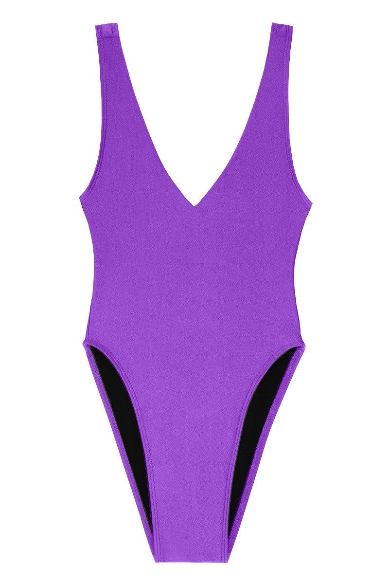 KOVEY Surfari Day High Cut One Piece Swimsuit - Purple One Piece   Purple 