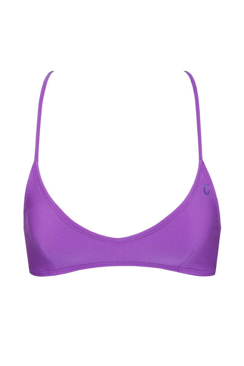 KOVEY Solid Swell Criss Cross Bikini Top - Purple Bikini Top | Purple|