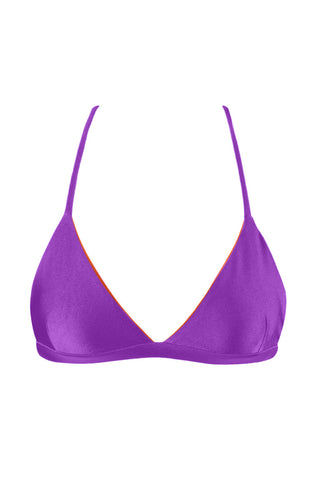 KOVEY Coast Criss Cross Back Triangle Bikini Top - Electric Purple Bikini Top | Electric Purple| Kovey Coast Criss Cross Back Triangle Bikini Top - Electric Purple Classic fixed triangle strappy back bikini top in electric purple. Stretch-fit fabric features a hint of sheen for a brilliant glow in the sunshine. The super sporty V-neckline sculpts your bust while exposing your décolletage. Thin criss-cross shoulder straps Front View