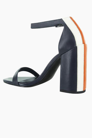 SENSO Lana Block Heel Sandals - Navy Colorblock Shoes | Navy Colorblock | Senso Lana Block Heel Sandals - Navy Colorblock. Features:  Soft leather Buckle fastening at ankle Square heel leather lining Heel height 4.29 inches Side View