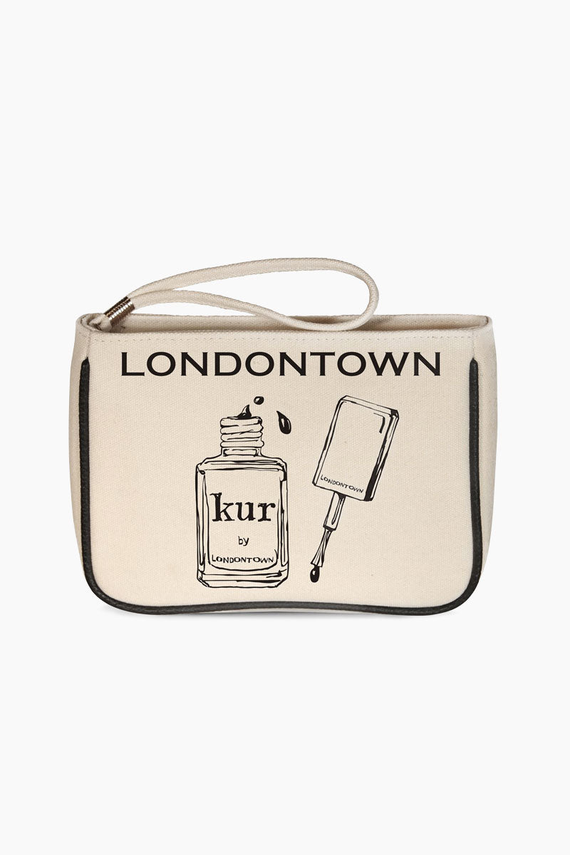 LONDONTOWN Londontown Deluxe Gift Set  | Clear| Londontown Deluxe Gift Set - No Color. Features: A limited edition, modern twist on an essential nail kit! Featuring all the products you need to accomplish a flawless mani in a charming canvas case.     Includes: Nail Hardener & Base Coat, Gel Genius Top Coat, Instant Smudge Fix, Nourishing Cuticle Oil, Restorative Nail Cream, Gloves & Glass Nail File . View: in bag view.