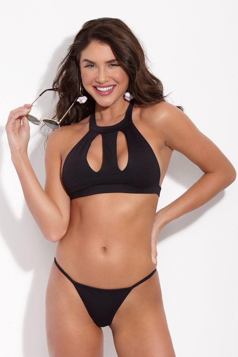 LA GOTTA Poppy High-Neck Cut-Out Bikini Top - Black Bikini Top | Black| La Gotta Poppy High Neck Cut Out Top - Black Front View High Neck Bikini Top Cut Out Cleavage Detail Racerback Halter Ties At Neck