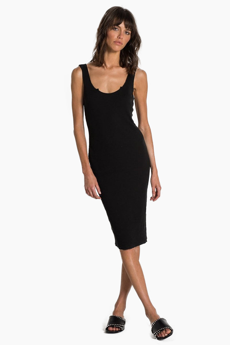 N:PHILANTHROPY Ladder Dress - Black Cat Dress | Black Cat| n:Philanthropy Ladder Dress - Black Cat Midi tank dress Scoop neckline  Scoop back Thick shoulder straps  Front View