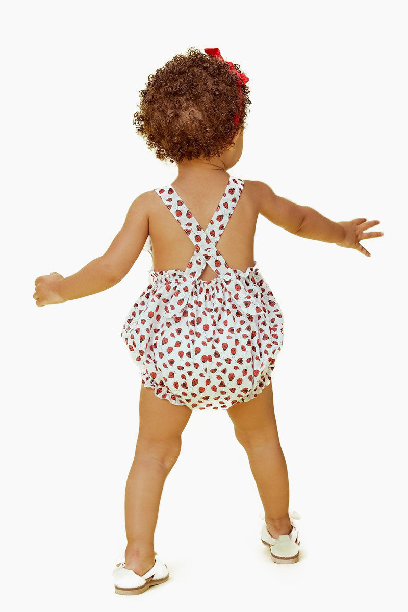 LIL LEMONS Ladybug Romper (Kids) - Ruby Kids Resort | Ruby| LIL LEMONS Ladybug Romper (Kids) - Ruby.Features:  Pin-tuck details Adjustable criss-cross straps Snap closure- making diaper changing quick and easy Back View