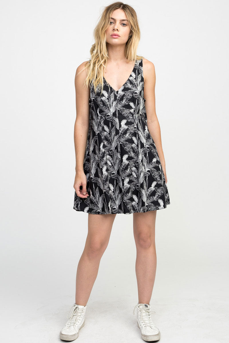 RVCA Landline Woven Dress - Black Dress | Black| RVCA Landline Woven Dress - Black Woven Dress V- Cut neckline thick shoulder straps Finished single strap across the v-cut back neckline Flowy A-line 100% rayon Front View