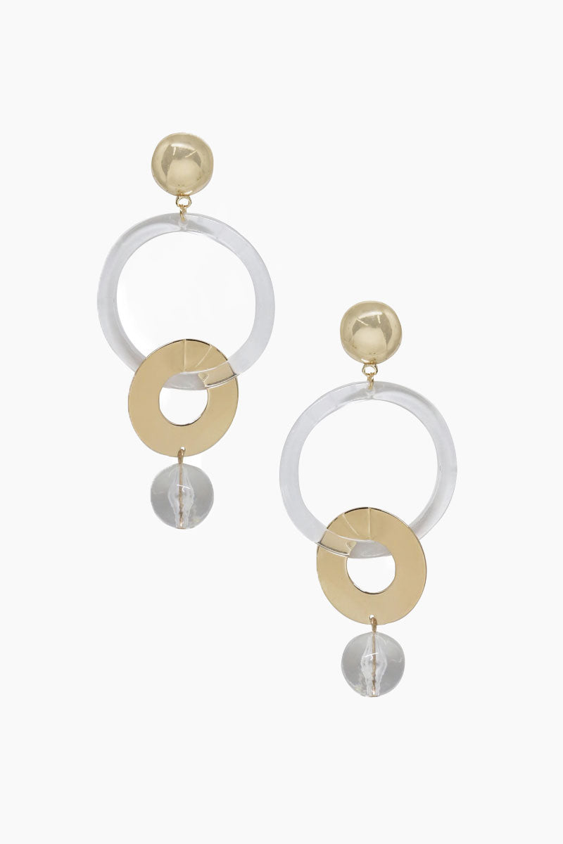 ETTIKA Large Drop Hoop Earrings - Clear & Gold Jewelry | Clear & Gold| Ettika Large Drop Hoop Earrings - Clear & Gold Dangling Earrings Connecting Hoop Detail  18kt Gold Plated Brass Surgical Steel Posts Nickel Free Length: 3 Inches