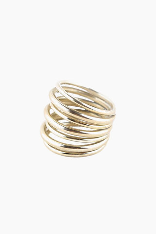 SOKO JEWELRY Layered Strand Ring - Brass Jewelry | Brass|Soko Jewelry Layered Strand Ring - Brass Layered strand ring  Recycled polished brass Handcrafted in Kenya  Front View