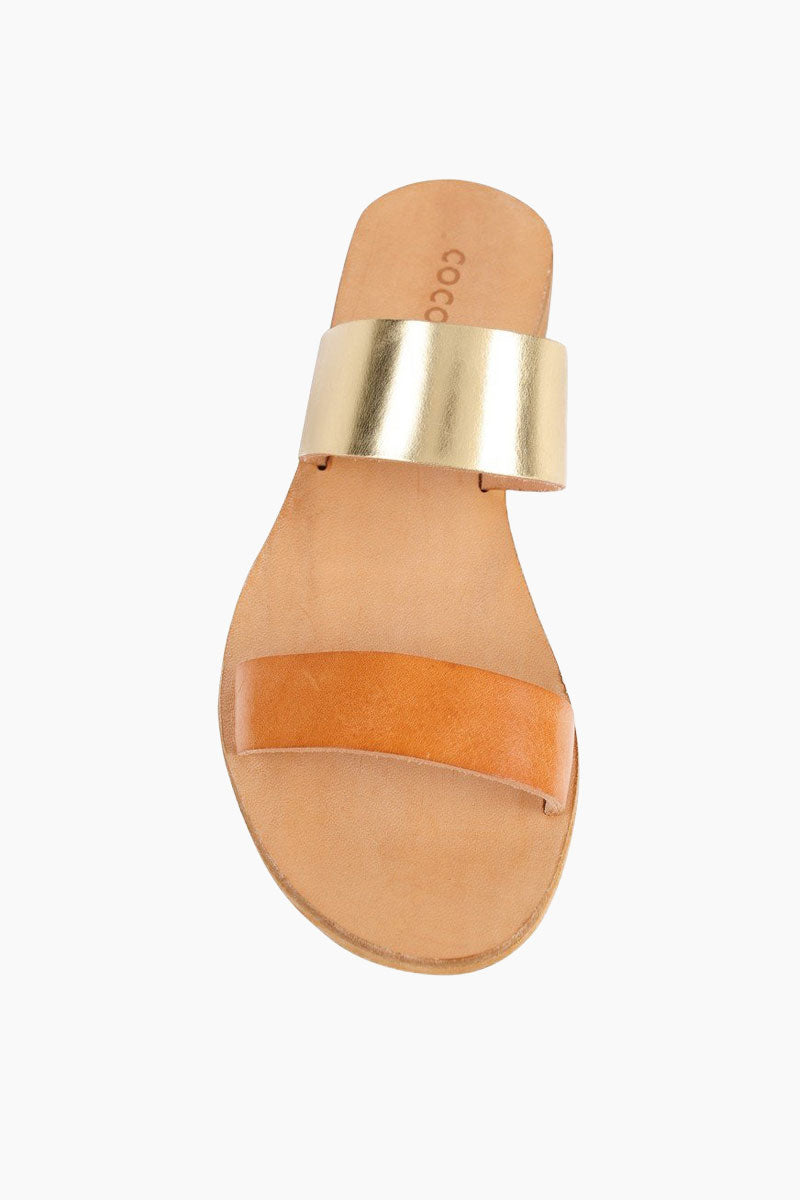 COCOBELLE Leather Slide Sandals - Natural Sandals | Natural| Leather Slide Sandals - Features:  Versatile slide sandal Dual cross straps that are comfortable and hold your foot in place Front VIew