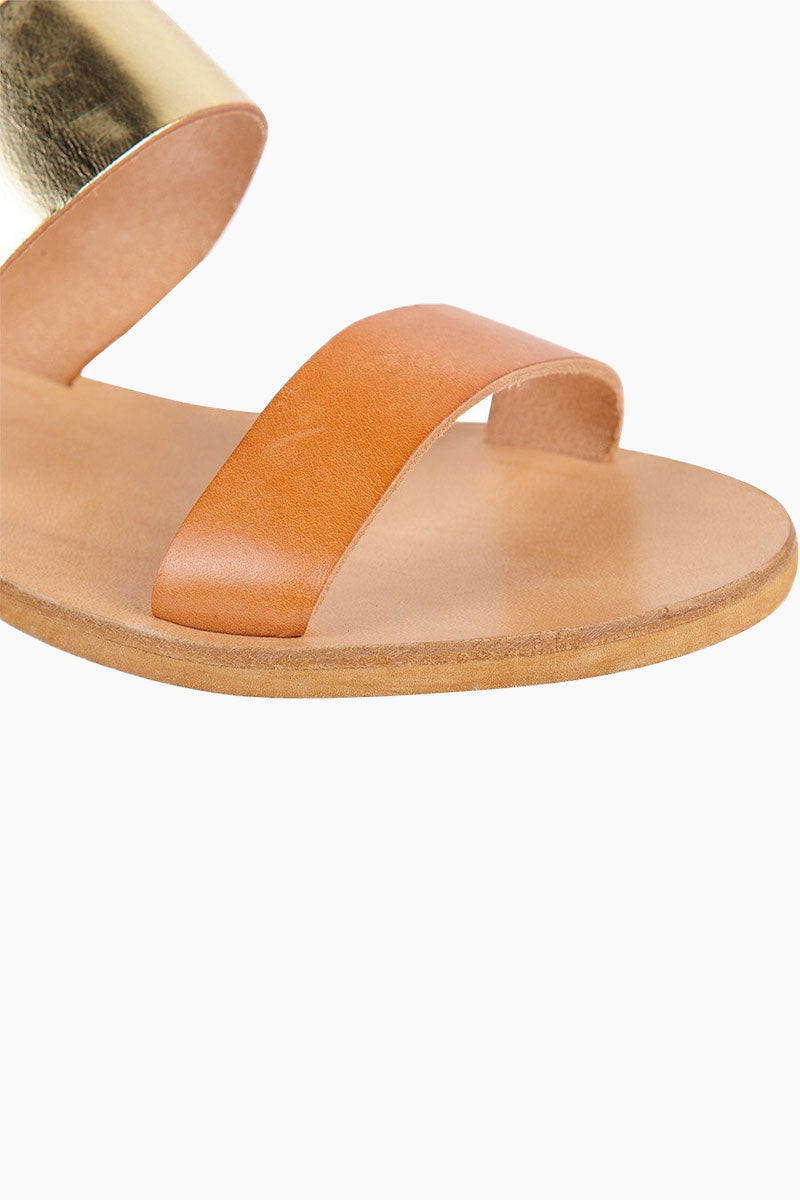 COCOBELLE Leather Slide Sandals - Natural Sandals | Natural| Leather Slide Sandals - Features:  Versatile slide sandal Dual cross straps that are comfortable and hold your foot in place Close up view