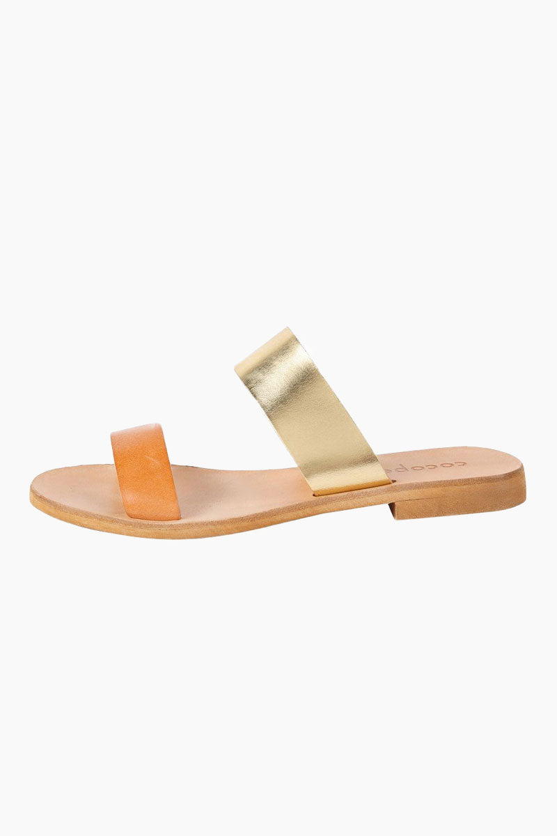 COCOBELLE Leather Slide Sandals - Natural Sandals | vNatural| Leather Slide Sandals - Features:  Versatile slide sandal Dual cross straps that are comfortable and hold your foot in place Side View