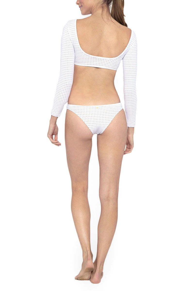 LES COQUINES Dylan Mesh Cut Out One Piece Swimsuit - Reef White One Piece | Reef White| Les Coquines Dylan Mesh Cut Out One Piece Swimsuit - Reef White Long Sleeve One Piece Cut Out detail Open Back Mesh Overlay Cheeky Coverage Back View