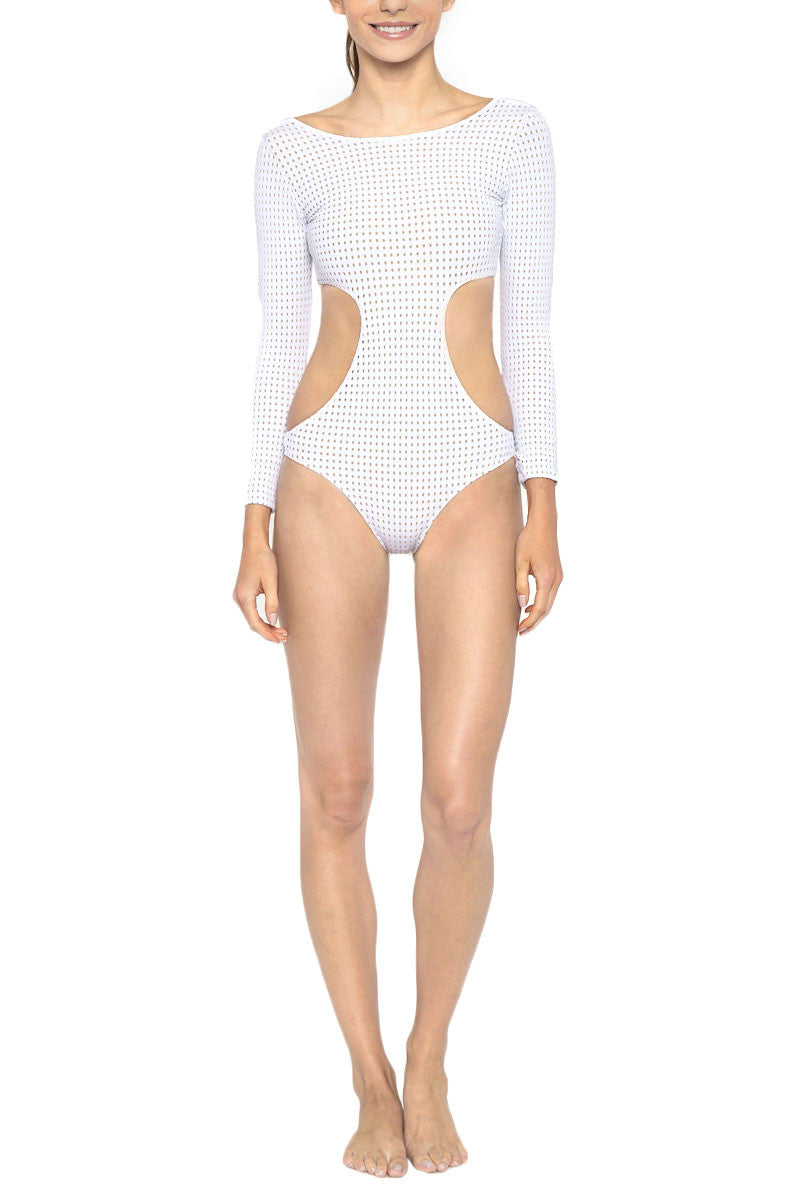 LES COQUINES Dylan Mesh Cut Out One Piece Swimsuit - Reef White One Piece | Reef White| Les Coquines Dylan Mesh Cut Out One Piece Swimsuit - Reef White Long Sleeve One Piece Cut Out detail Open Back Mesh Overlay Cheeky Coverage Front View