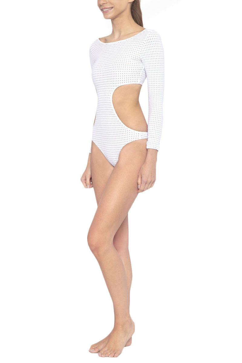 LES COQUINES Dylan Mesh Cut Out One Piece Swimsuit - Reef White One Piece | Reef White| Les Coquines Dylan Mesh Cut Out One Piece Swimsuit - Reef White Long Sleeve One Piece Cut Out detail Open Back Mesh Overlay Cheeky Coverage Side View